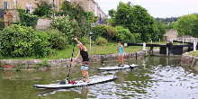 Paddle boarders on the Kennet & Avon Canal