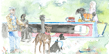 A painting of a narrowboat with a dog going through a lock past a man walking two other dogs.