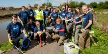 Volunteers install fishing pegs at Blacon