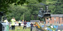 Toddbrook Reservoir: Chinook lowers bags into position