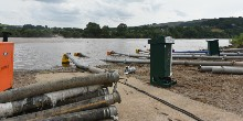 Toddbrook Reservoir: pump pipes in the water