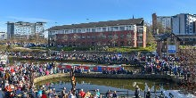 people celebrating at Victoria Quays in Sheffield