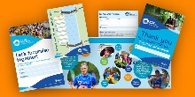 Showing what's included in the Let's Fundraise! pack - a guide, two posters and a sponsorship form