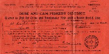 Fishing rod licence from 1936 for the Ouse and Cam Fishery District