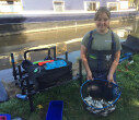 Gabrielle Marshall showing off her catch at junior canal angling championships 2020 Shropshire Union Canal