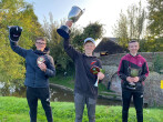 The three members of the junior canal angling championships 2020 winning team Gudgeon Gatherers hold up their trophies
