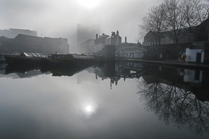 Misty Morning at Gas Street Basin, Birmingham Canal Navigations by Bob Thomas