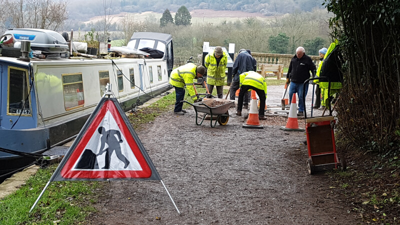 Tow Path Repair at Dundas Warf, Kennet & Avon Canal by Leslie Knott