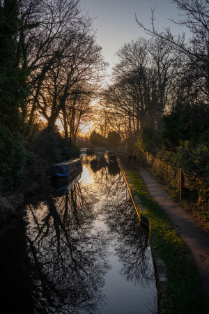 A Winter Stroll at Sunset, Macclesfield Canal by Ann Mccready
