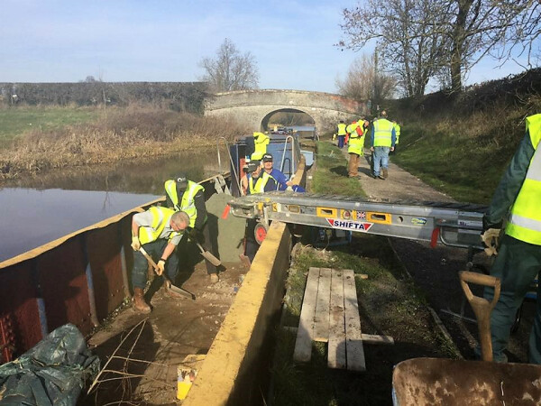 More towpath work by Small Tasks Team Volunteers at bridge 91near Nantwich. Photo by Helen Lane, Shropshire Union Canal by C.b. Holmes