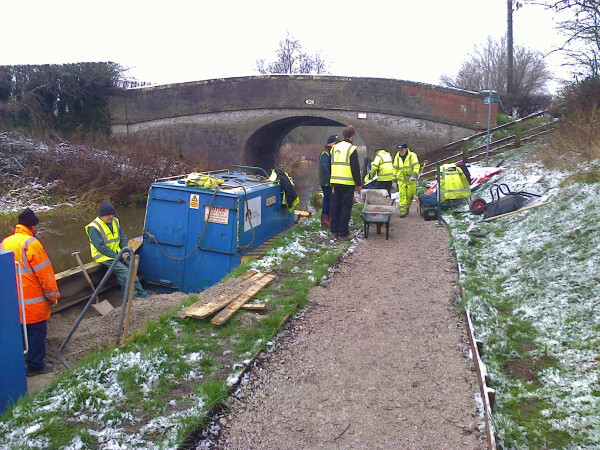 SmallTasks Team Volunteers laying towpath at bridge 91 January 2019, Shropshire Union Canal by Brian Holmes