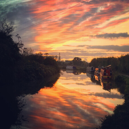 Sunset reflections, Kennet and Avon canal by Rob Morley