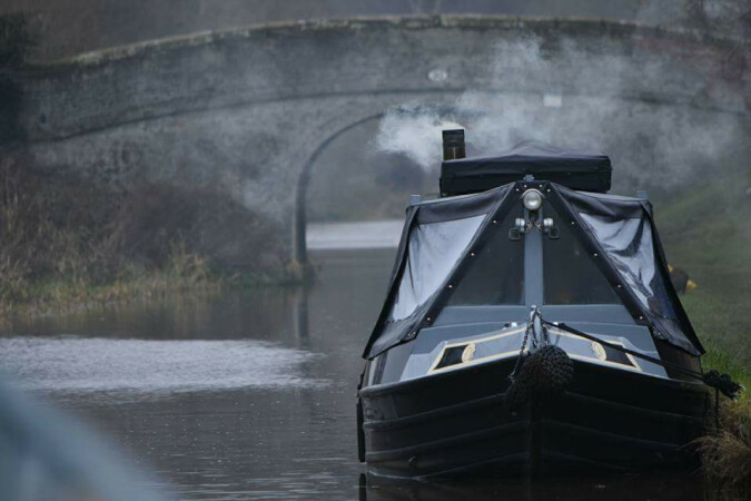 ice and smoke, Shropshire Union canal by Janette Boyd-marshall