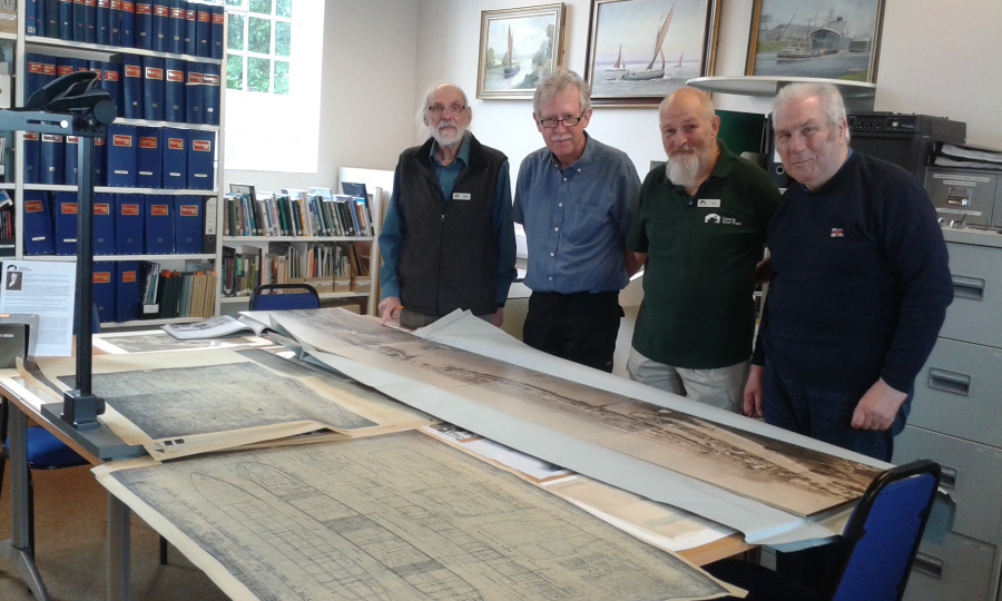 Archive volunteers conserving and digitising maps and plans, Shropshire Union Canal by Linda Barley