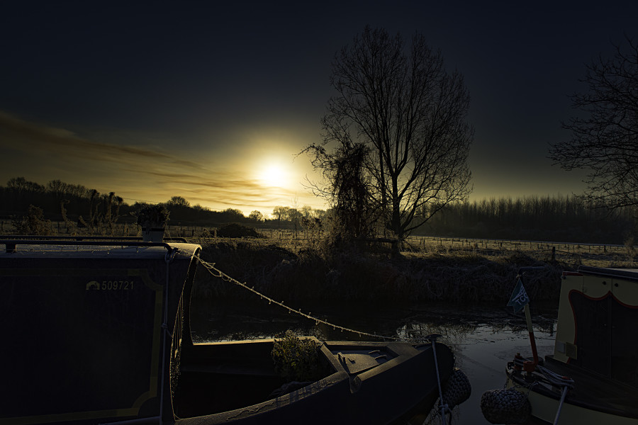Low Sun Over Ice, Oxford Canal, Thrupp by Alex Petty