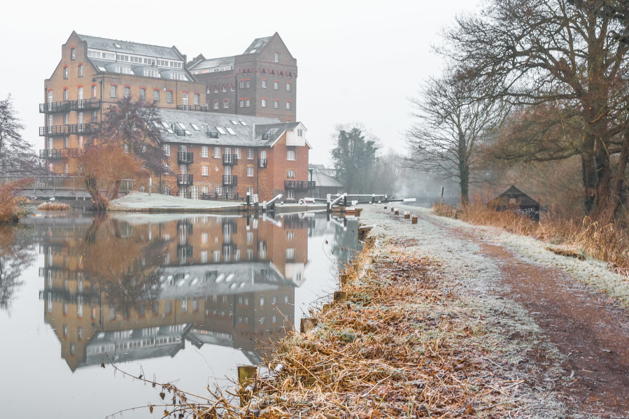 Frosty Wey, Along the Wey Navigation toward Coxes Lock andMill by Stephen Darlington